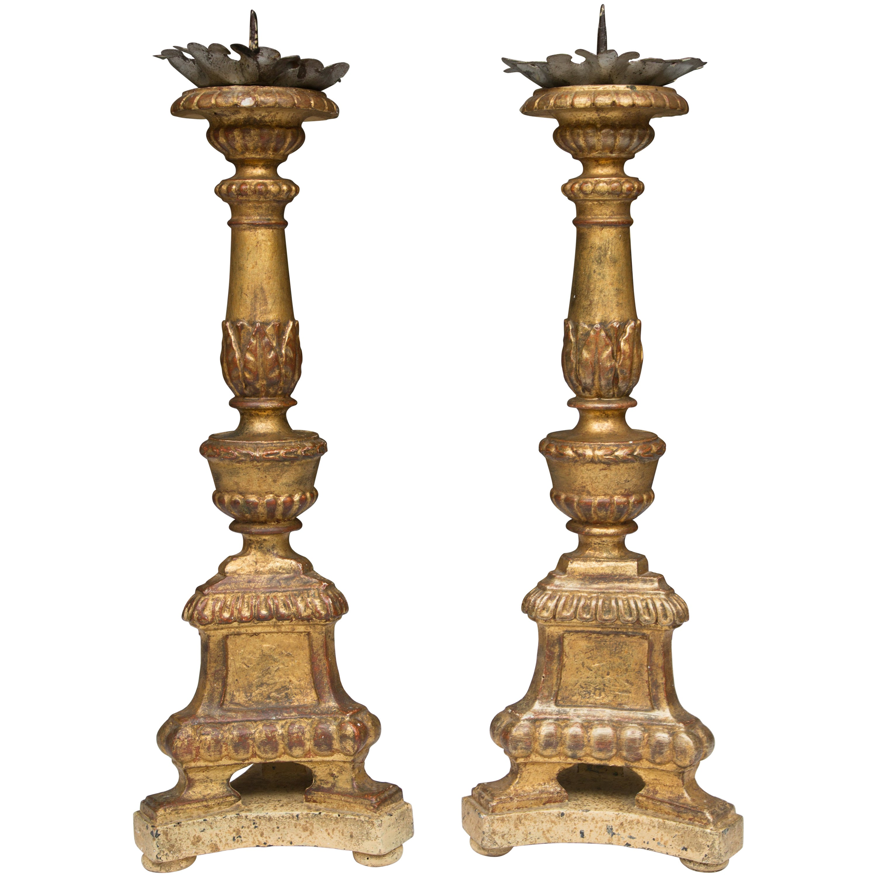 A Pair of Italian Carved Giltwood Pricket Sticks, 19th Century