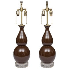 Pair of Chocolate Brown Double Gourd Table Lamps