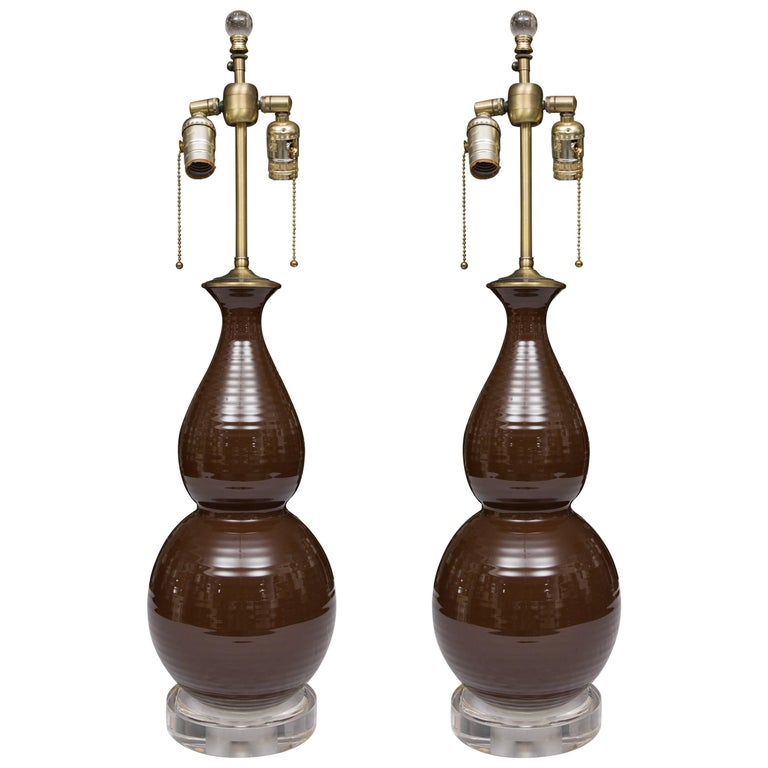 Pair of Chocolate Brown Double Gourd Table Lamps For Sale