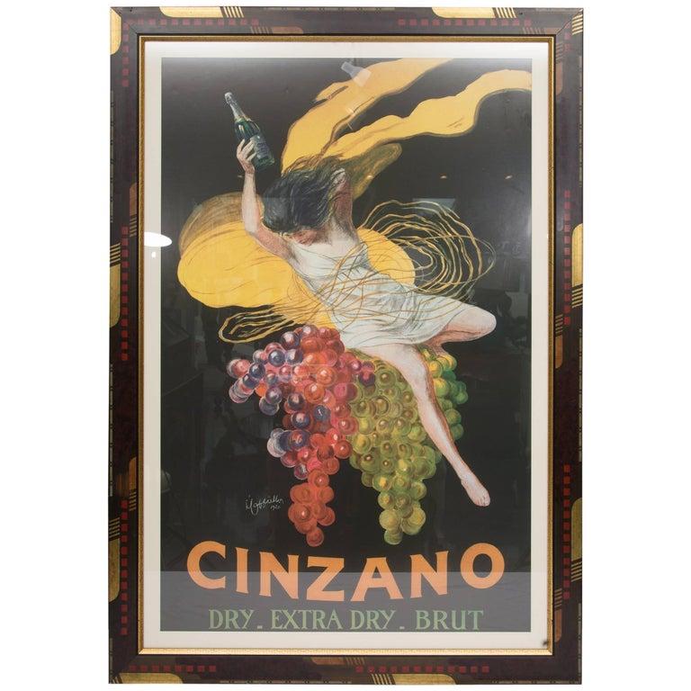 Large Framed Cinzano Poster in Unique Custom Frame For Sale