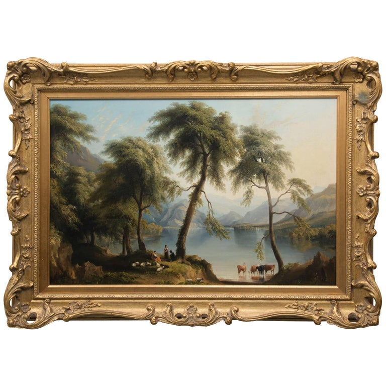 19th Century Oil on Canvas of Italian Landscape For Sale