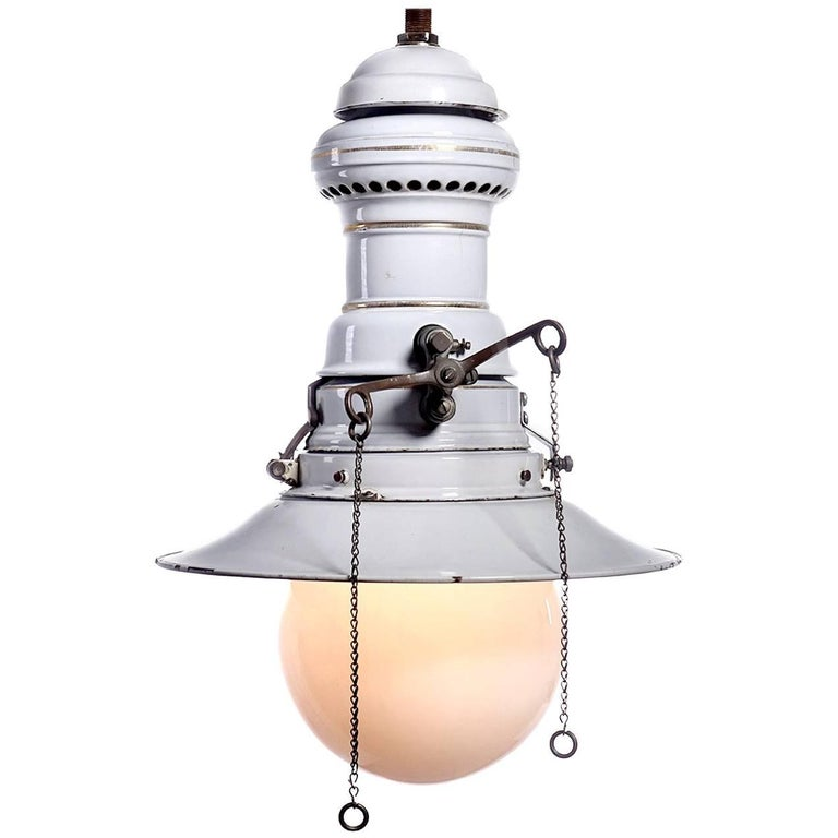 Large Early Electrified Porcelain Gas Lamp