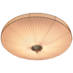 Large Round Pleated Flush Mount with Brass Centrepart by Idman, Finland, 1950s