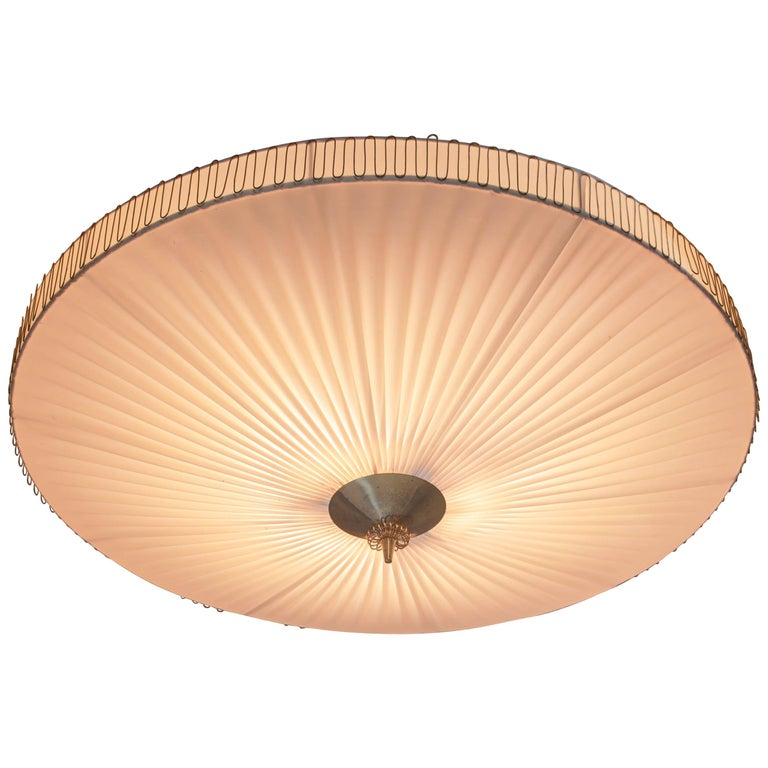Large Round Pleated Flush Mount with Brass Centrepart by Idman, Finland, 1950s For Sale