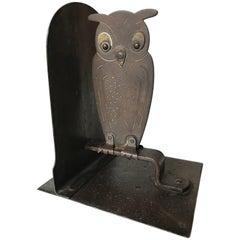 Vintage 1920s Hammered Metal Owl Bookend by Goberg, Hugo Berger, Germany