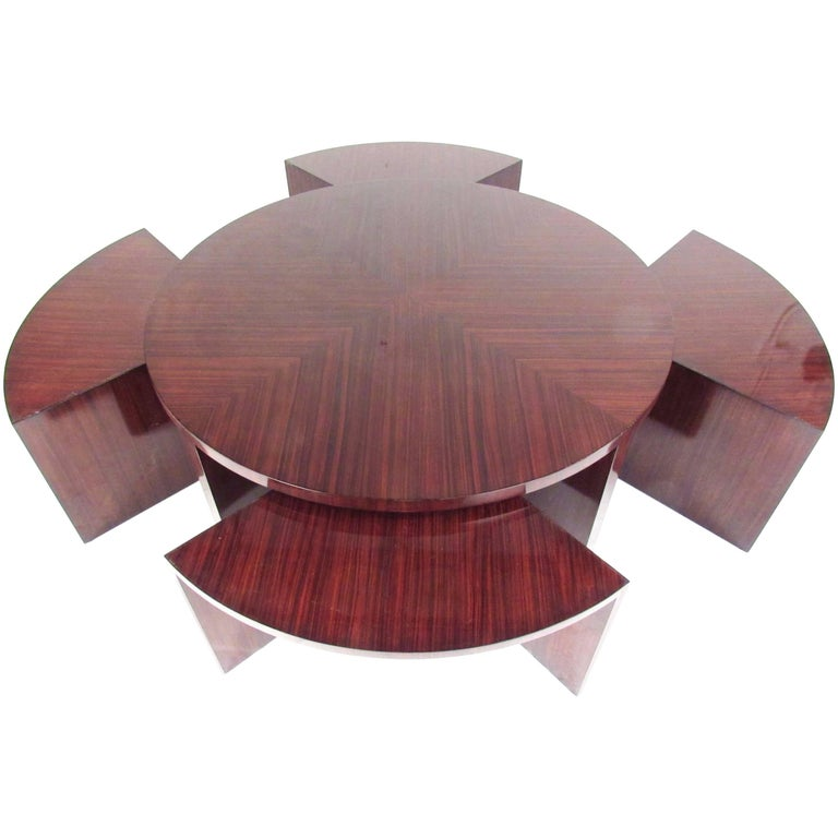 "Stylish Ralph Lauren ""Duke"" Cocktail Table with Nesting Bench Seats"