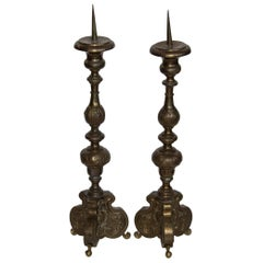 Pair of 19th Century Spanish Baroque Brass Candlesticks