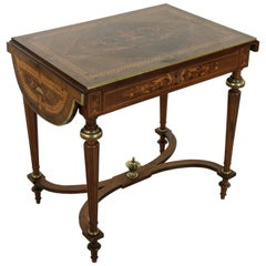 19th Century Napoleon III Drop Leaf Marquetry Table with Exotic Woods and Bronze