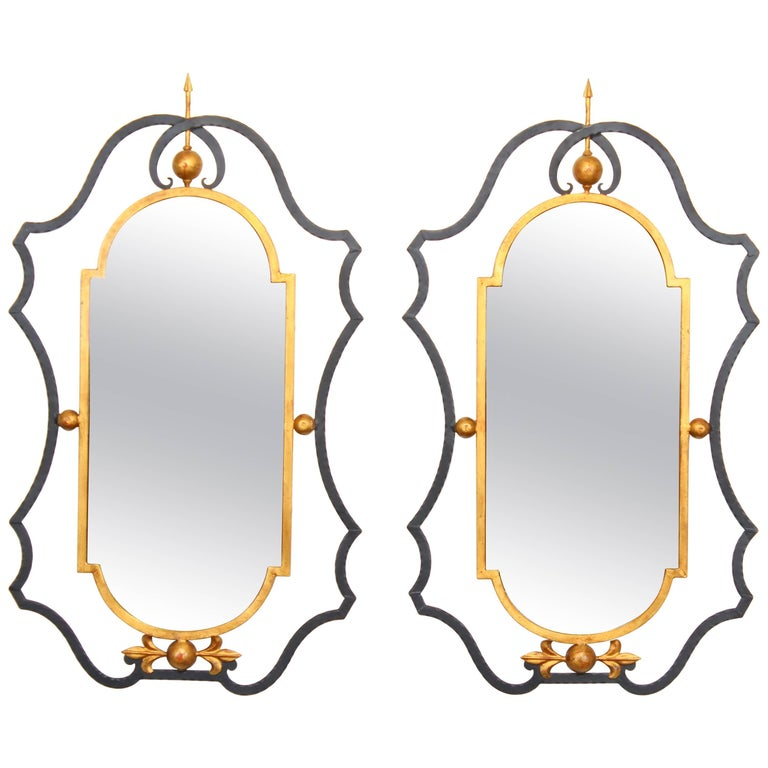 Pair of Wrought Iron and Gilt Italian Palladio Mirrors, 1960s