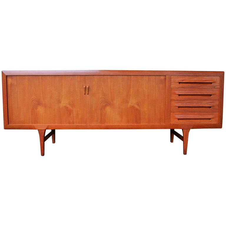 1950s Danish Teak Tambour Credenza by Ib Kofod-Larsen with Finished Back