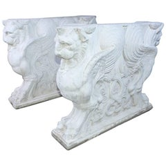 Pair of Italian Neoclassical Style Griffons Table Pedestals