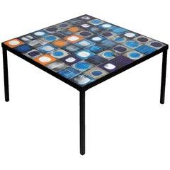 """Exceptionnal Low Table by Roger Capron """"planète bleue"""", 1950"""