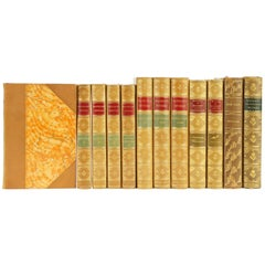 Collection of 300 Leather Bound Books with Gilt Tooling