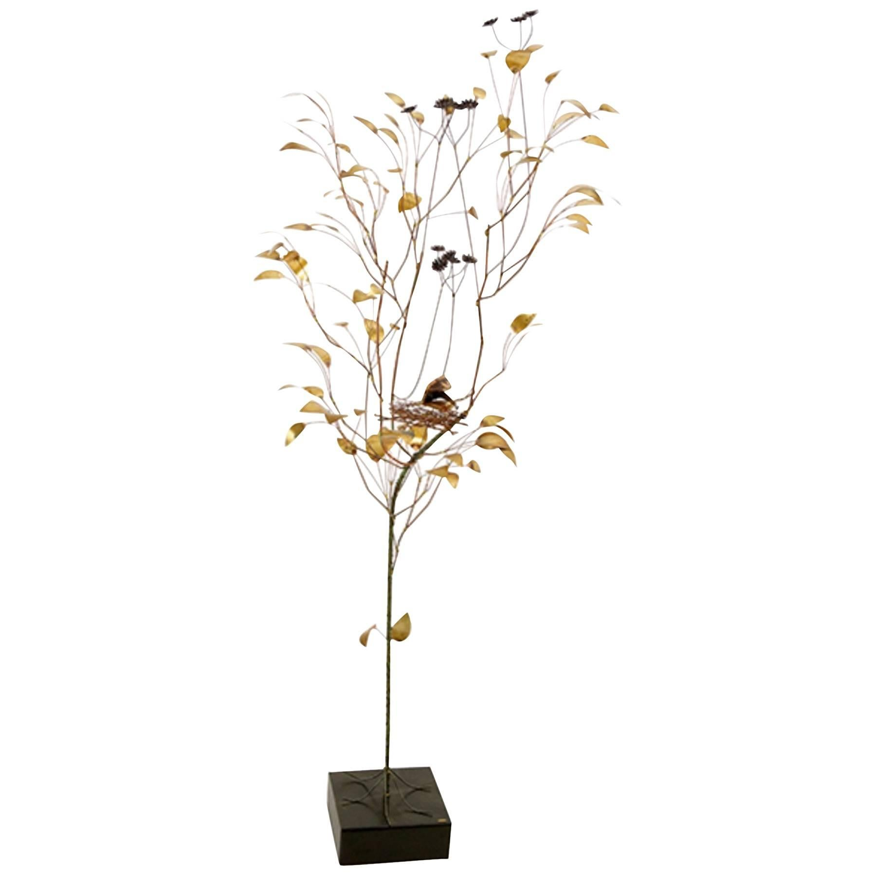 Curtis Jere, Patinated and Welded Brass Tree with a Stylized Birds Nest, Signed