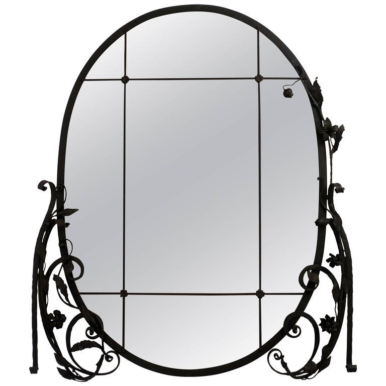 1920s French Wrought Iron and Smoked Glass Mirror