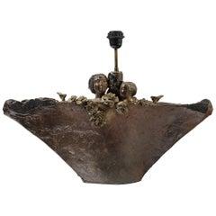 Sculptural and Romantic Stoneware Table Lamp by Alain Girel La Borne, circa 1970