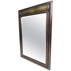 Vintage Mastercraft Burl and Brass Wall Mirror by Bernhard Rohne