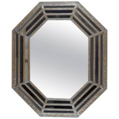 19th Century Octagonal Mirror with Repousse Metal Frame, Original Mirror Plate