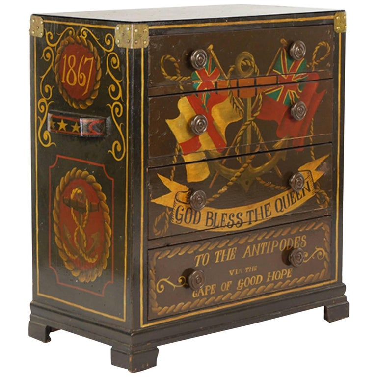 Very Decorative, Handsome English Four-Drawer Painted Chest For Sale
