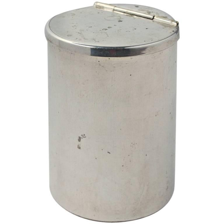 Small Silver Plated Canister with Hinged Lid For Sale