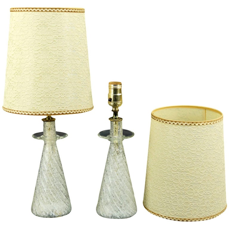 One Pair of Italian Midcentury Glass Table Lamps Nice Scale