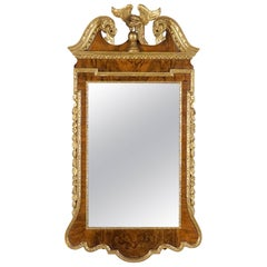 19th Century Geo III Style Mirror, Burled Walnut With Giltwood Decoration