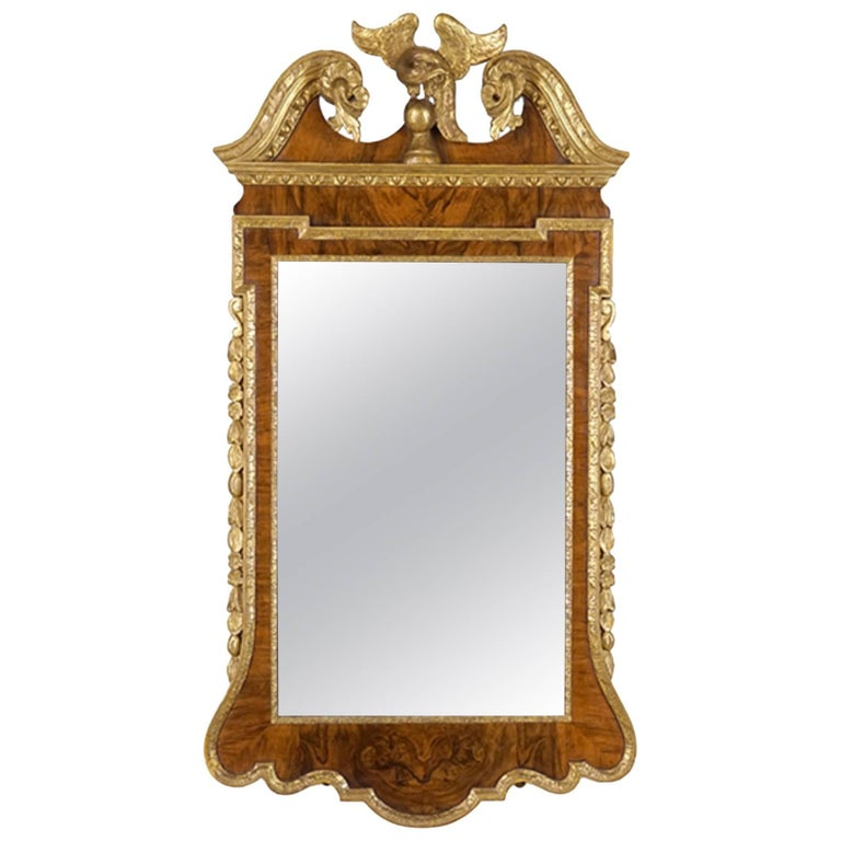 19th Century Geo III Style Mirror, Burled Walnut With Giltwood Decoration For Sale