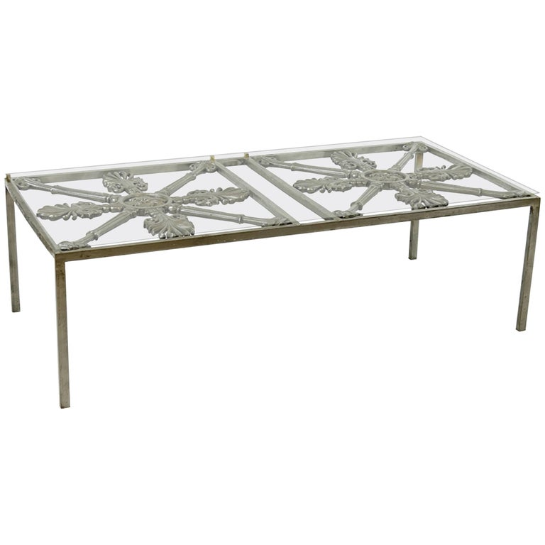 Iron Cocktail Table Made of Architectural Elements For Sale