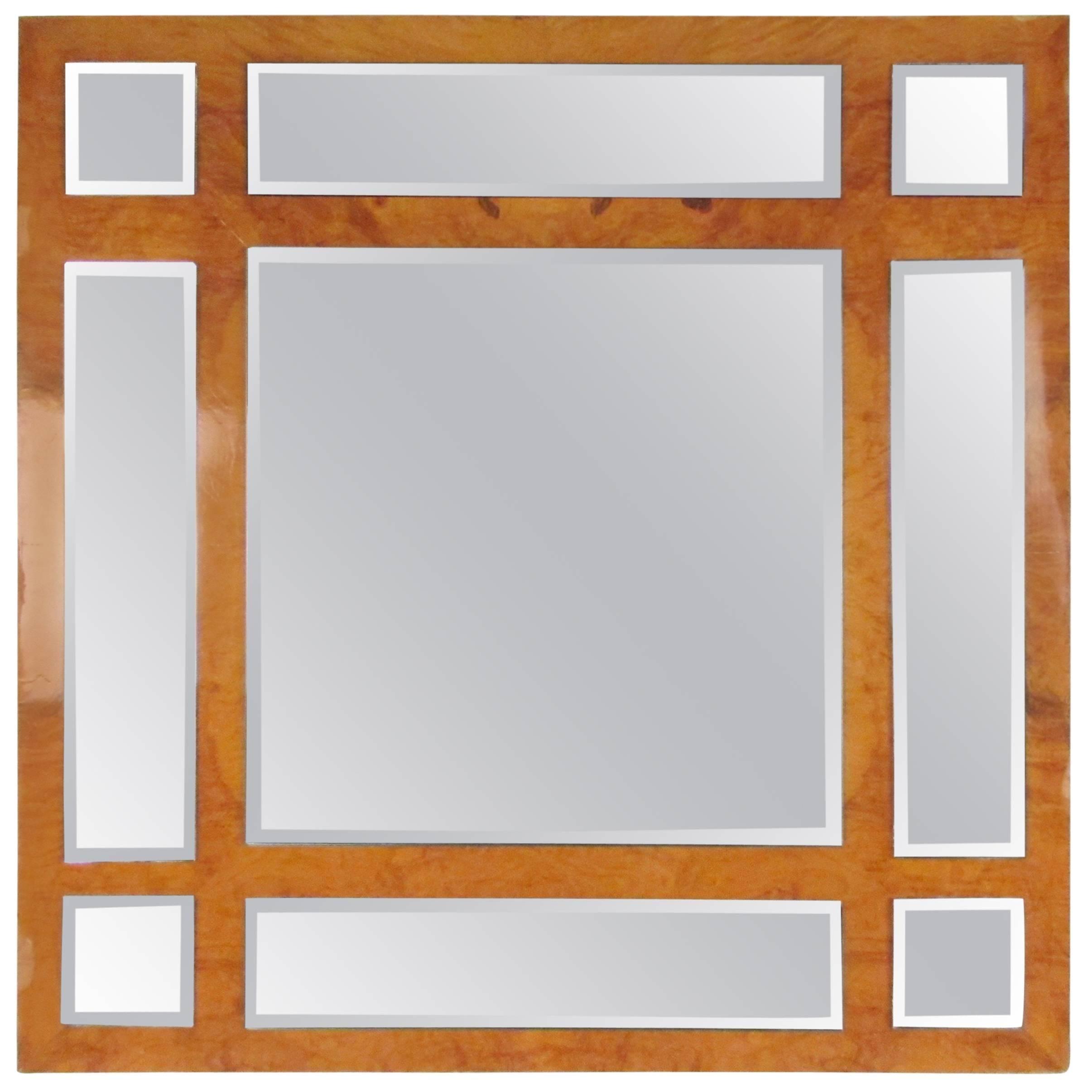 Vintage Modern Burlwood Mirror in the Style of Milo Baughman