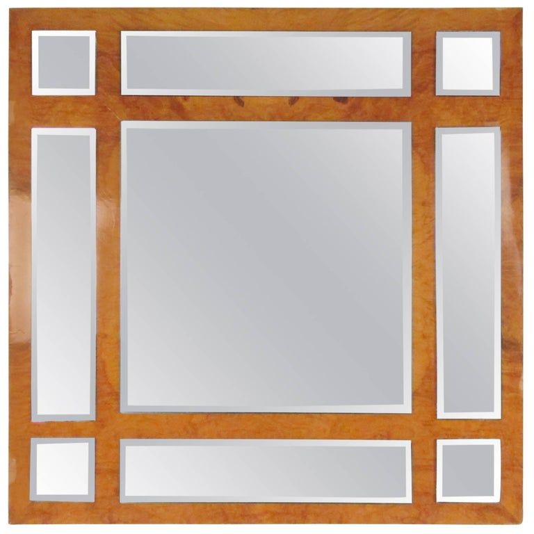 Vintage Modern Burlwood Mirror in the Style of Milo Baughman