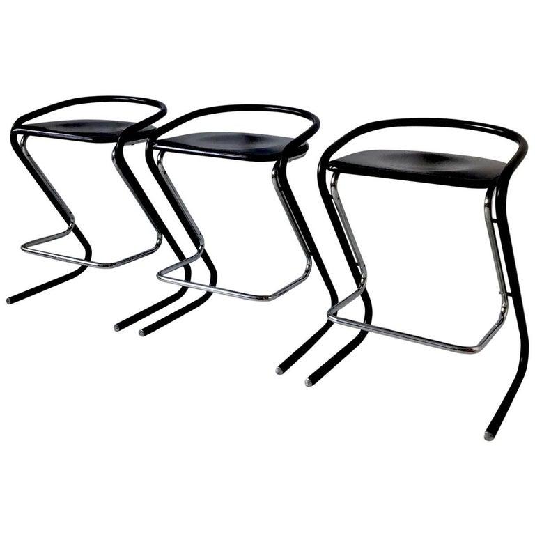 Set of Three Black and Chromed Bar Stools by Thema Italy, circa 1970s