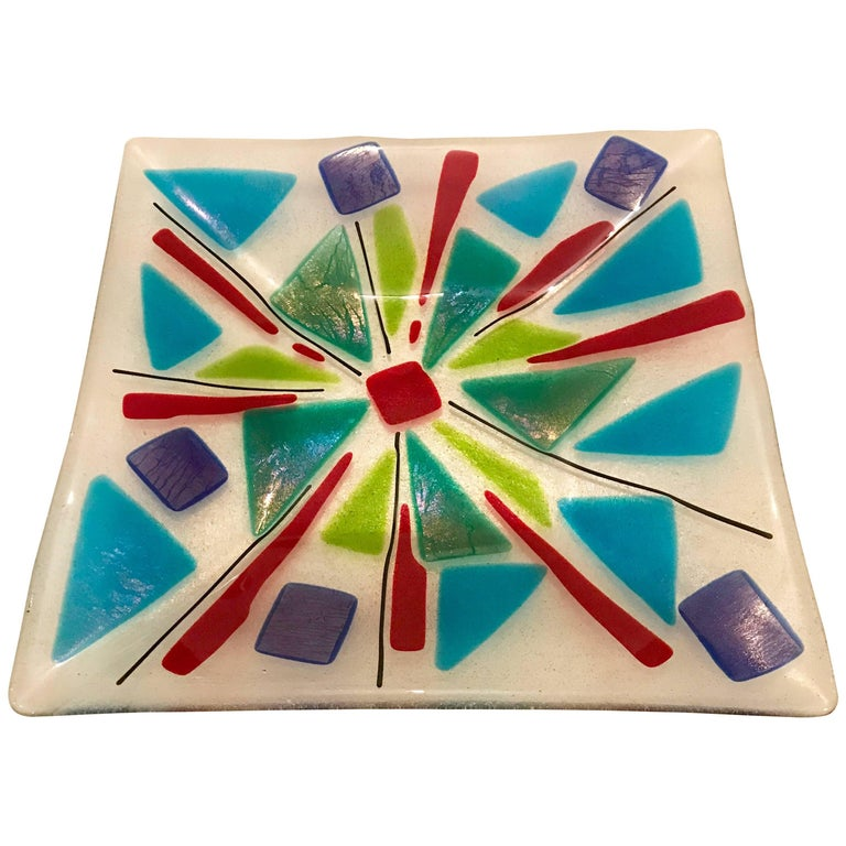 Mid Century Modern Fused Art Glass Decorative Tray or Platter