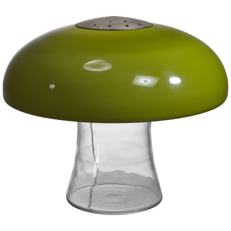 Green Glass Table Lamp, Italy, 1970s