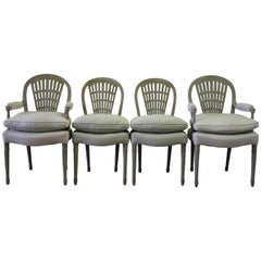 Early 19th Century Painted Upholstered Wheatsheaf Style Gustavian Dining Chairs