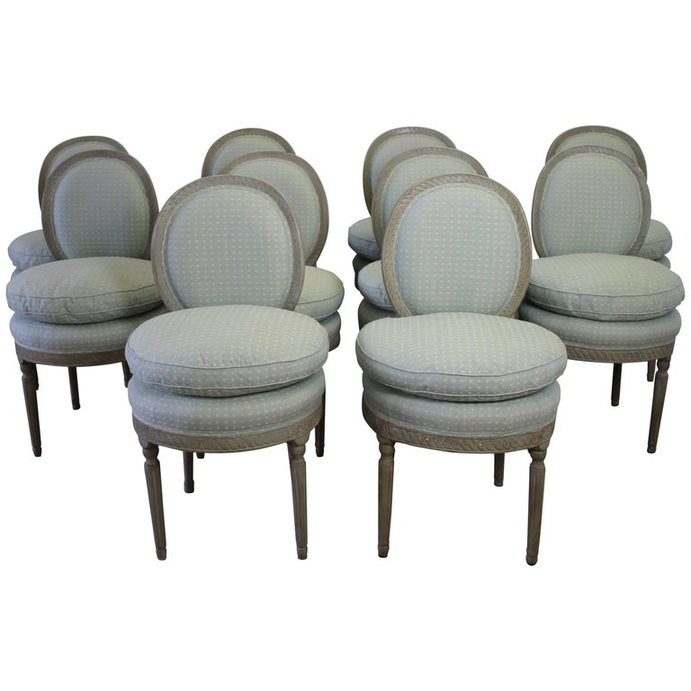 Set of Ten Carved and Painted Swedish Gustavian Style Dining Chairs