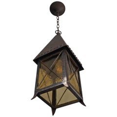 Early 1900s Arts and Crafts Wrought Iron and Cathedral Glass Lantern