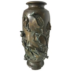Antique Japanese Bronze Baluster Vase Urn Meiji Period