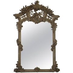 Early 20th Century Antique Wood Carved and Painted French Mirror