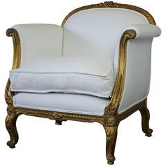 Antique French Louis XV Style Gilded Club Chair in White Belgian Linen