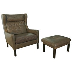 Borge Mogensen Style High Back Lounge Chair and Ottoman in Dark Olive Leather
