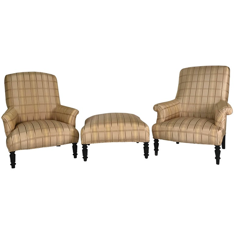 Pair of French Library Chairs with Ottoman in Bold Silk Plaid
