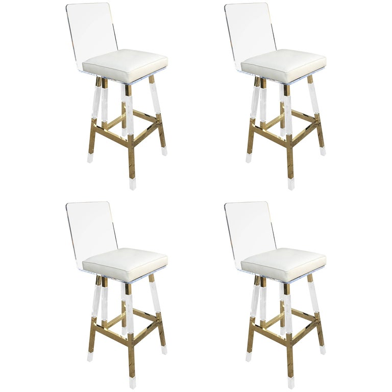 Charles Hollis Jones Barstools in Lucite and Polished Brass
