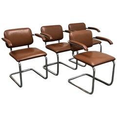 Set of Four Marcel Breuer Leather Cesca Armchairs