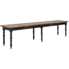 Pine Top and Black Base Dining Table, circa 1930