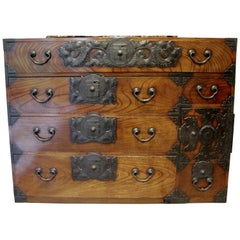 Japanese Tansu Cedar Elm Chest Sendai Style 19th Century
