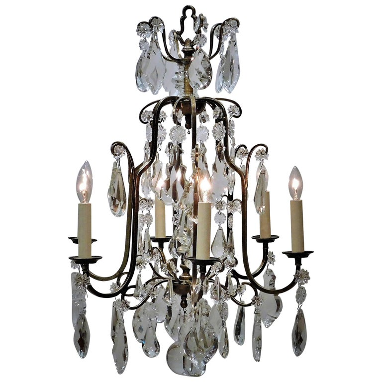 Louis XV Style Aged Brass and Crystal Six-Light Chandelier, France, circa 1930