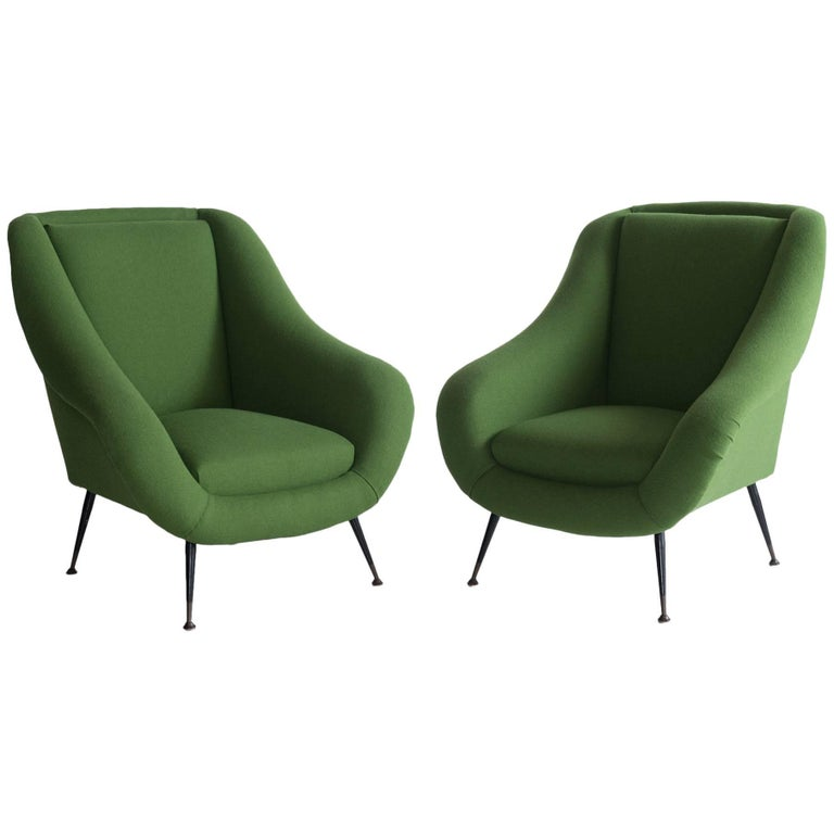 Pair of Green Armchairs, circa 1960 For Sale