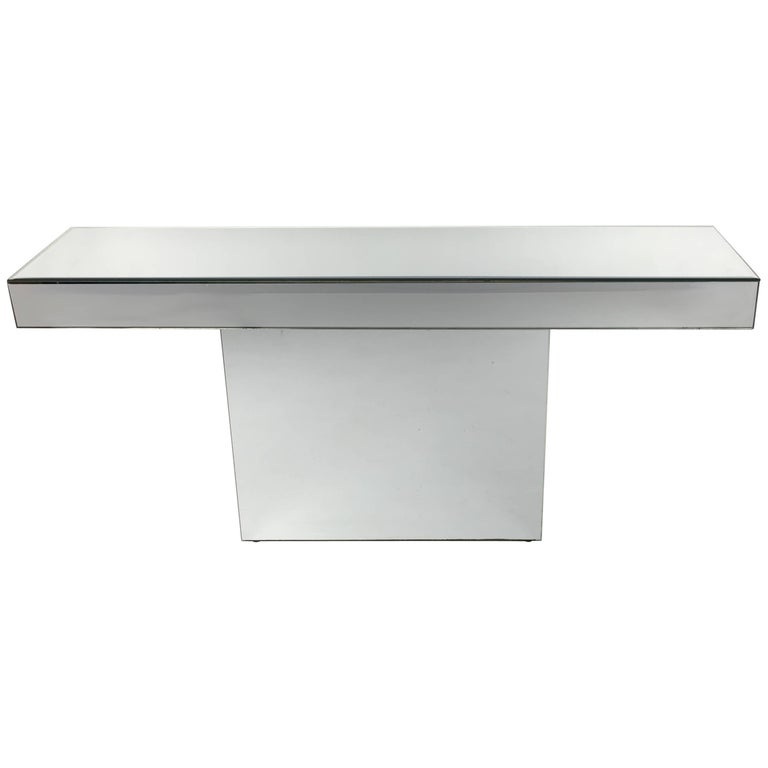 Chic Mirror Clad Console For Sale