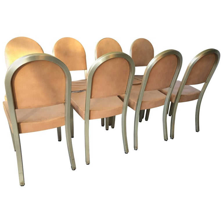 1940 General Fireproofing GoodForm Round Back Aluminum Eight Dining Chairs Set