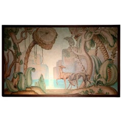 Art Deco Original Painting Mural in the Style of Jean Dupas